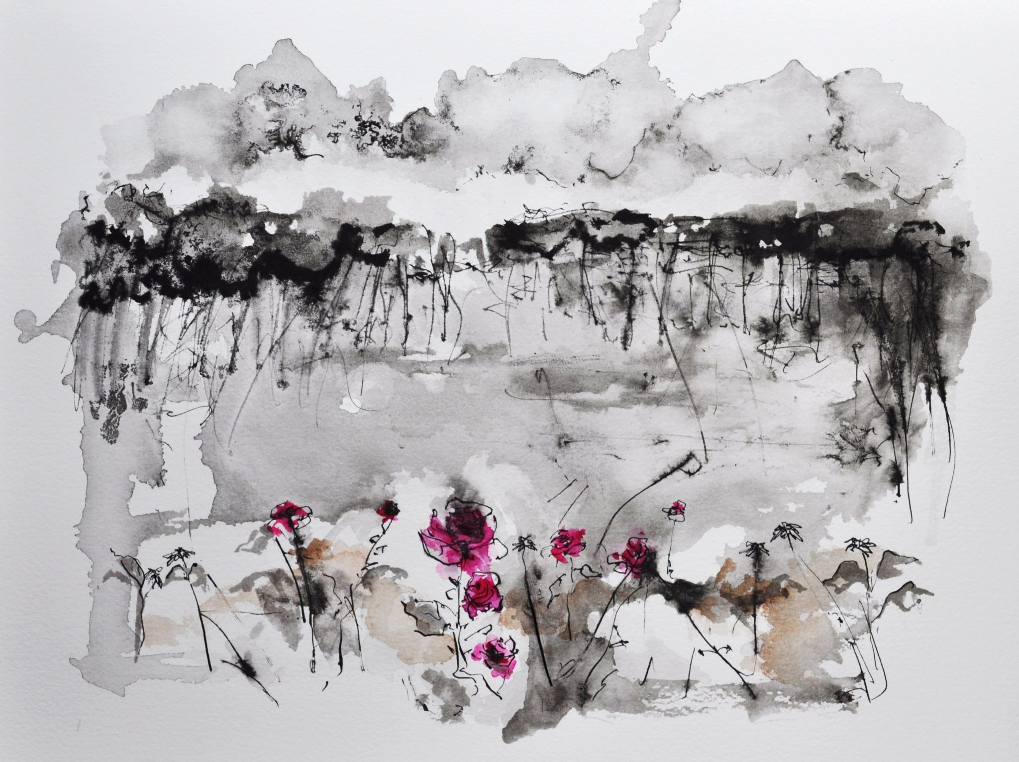 Branco-cinza. Cor de rosa