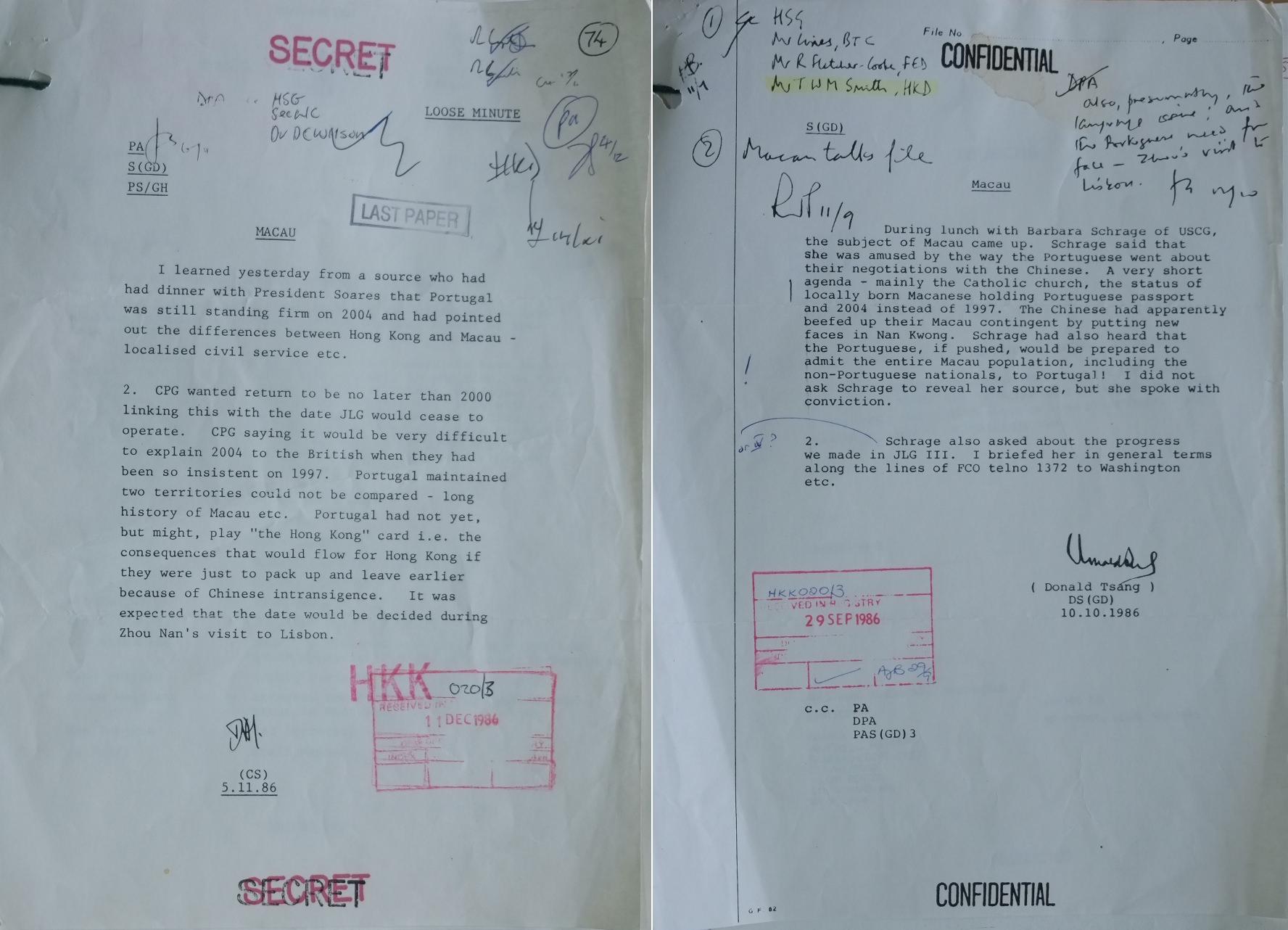 Documento refere que Portugal queria transferir a soberania de Macau só em 2004