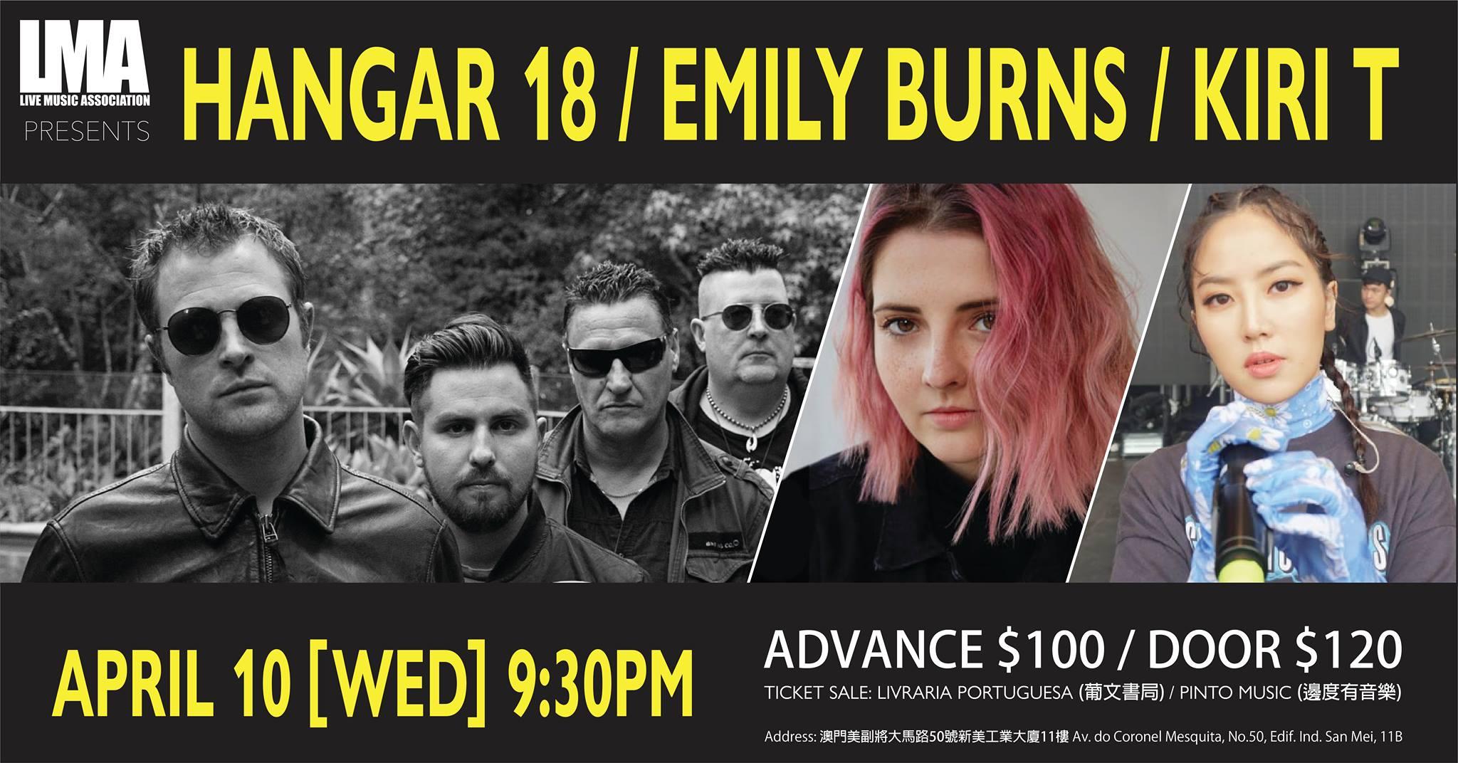 Hangar 18, Emily Burns e Kiri T amanhã ao vivo no espaço Live Music Association