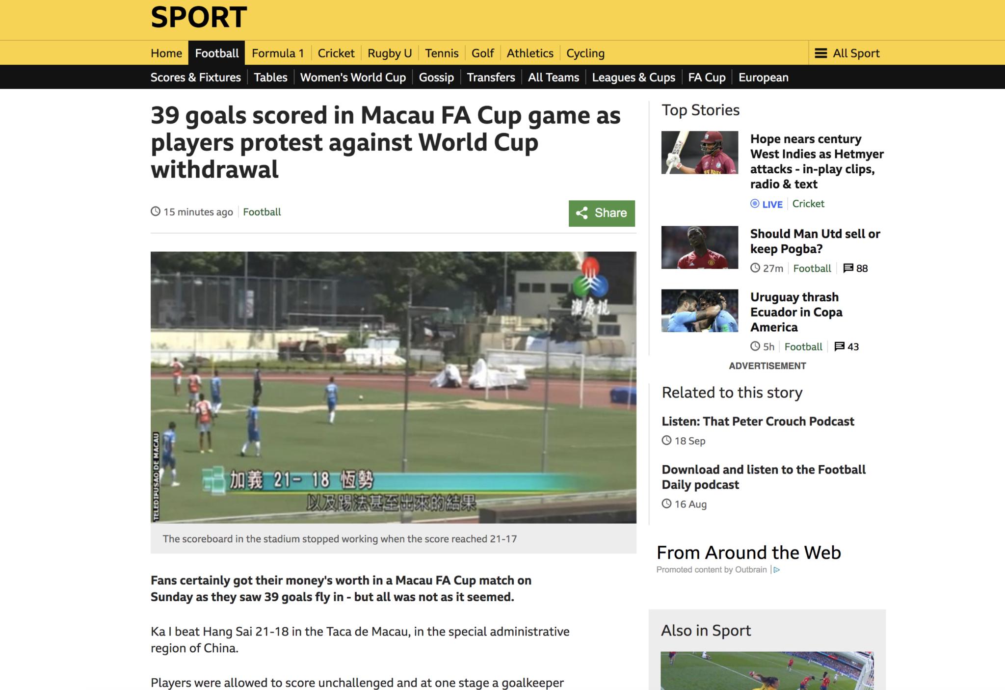 Protesto de Ka I e Hang Sai na Taça de Macau chega à BBC