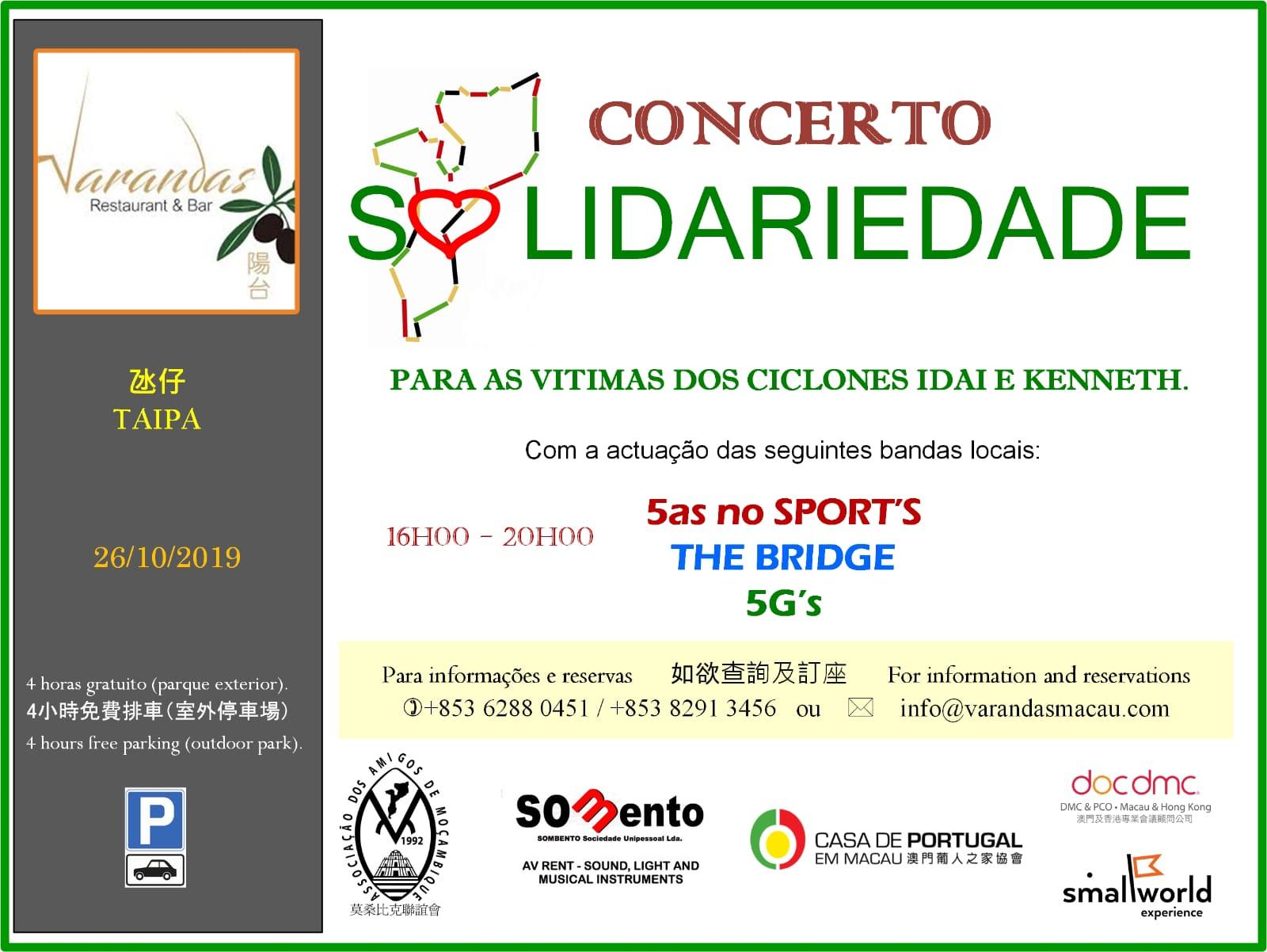 Taipa | Concerto solidário por vítimas dos ciclones em Moçambique