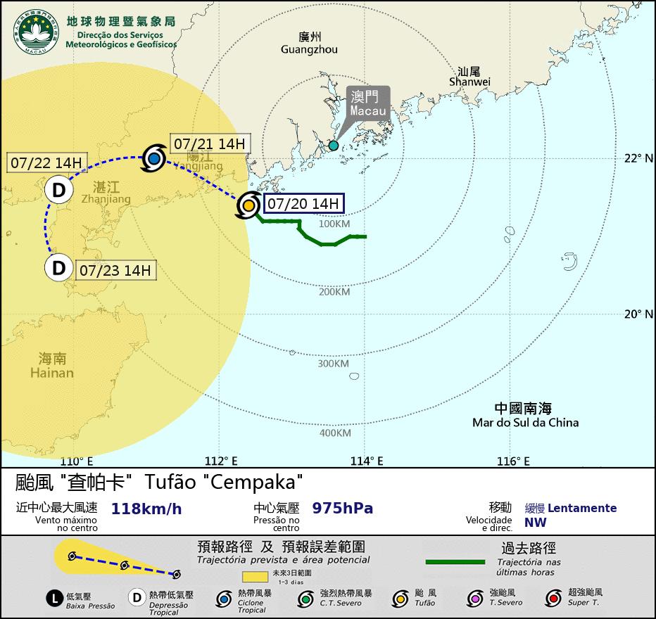 """Cempaka"" | Sinal 3 de tempestade içado. ""Baixa"" possibilidade de içar sinal 8"